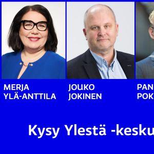 Kuvassa toimitusjohtaja Merja Ylä-Anttila, uutispäätoimittaja Jouko Jokinen, uuden Tuotanto, urheilu ja tapahtumat -yksikön johtaja Panu Pokkinen ja Lounais-Suomen aluetoimituksen päällikkö Mari Kunttu-Kauppi.