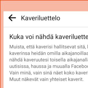 Kuvakaappaus Facebook-profiilin asetuksista: Kaverilistan yksityisyysasetusten vaihtoehdot.