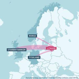 Karta som illustrerar emigrationen från Litauen till Storbritannien, Tyskland och Norge.