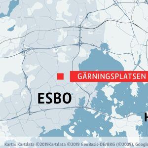 Karta över delar av Esbo och Helsingfors.