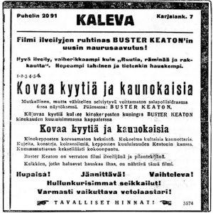Buster Keatonin elokuvien mainos.