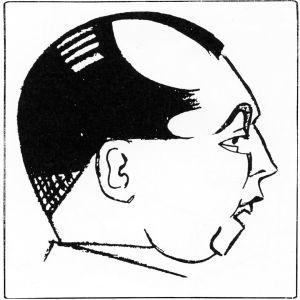 Eka Karppasen piirros Karjala-lehden toimittajasta Jaakko Leposta 1920-luvulla.