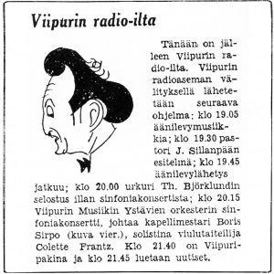 Eka Karppasen piirros viulisti Boris Sirposta.