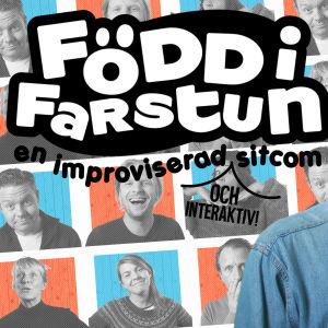 Simon Karlsson och Märta Westerlund i näsdagen 2019 promobild med grafik och texten Född i farstun sitcom.