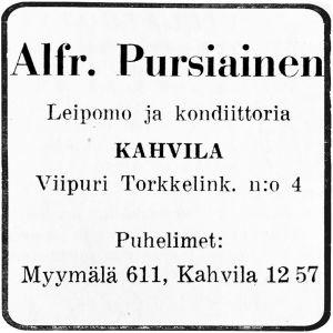 Kahvila-konditoria Pursiaisen lehtimainos.