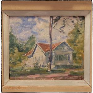 Elias Muukan maalaus Oskari Tillin huvilasta Terijoella 1934. Maalauksen omistaa Oskari Tillin tyttärentytär Auli Taipale.