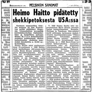 Uutinen Helsingin Sanomissa: Heimo Haitto pidätetty shekkipetoksesta USA:ssa.