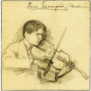 Alfred Ketolan piirros viulua soittavasta Toivo Saarenpäästä.