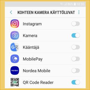 Kuvakaappaus Android-puhelimen asetuksista: Sovelluksia, joille on annettu lupa puhelimen Kameran käyttöön.
