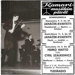 Esiintymässä viulutaiteilija Heimo Haitto ja pianotaiteilija Cyril Szalkiewicz 1948 (arvio).
