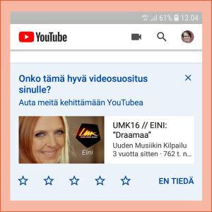 Kuvakaappaus Youtubesta: Aloitussivulla näkyy palvelun suosittelema video.