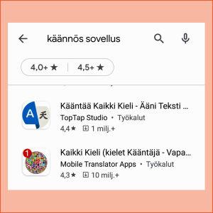 Kuvakaappaus Google Play Kaupasta: hakusanat kone käännös tuottavat myös ainakin suomen kielen kannalta kehnoja sovelluksia.