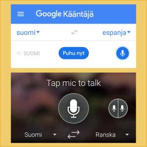 Kuvakaappaukset Googlen ja Microsoftin käännössovelluksista: Käännä puhettasi mikrofonin kuvaa paikanamalla.