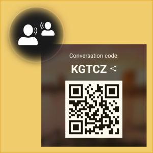 Kuvakaappaus Microsoft Translator -sovelluksesta: Ryhmäkeskustelu aukeaa etusivulta kahden puhujan kuvasta.