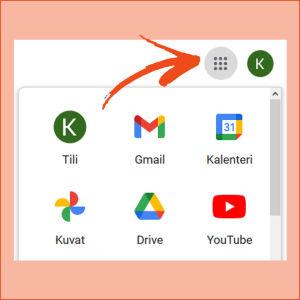 Kuvakaappaus Gmail-tililtä tietokoneelta: Google sovellukset aukeavat 9 pisteen ikonista.