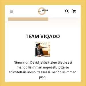 Kuvakaappaus verkkokaupasta viqado.com. Asiakaspalvelijan valokuva ei reagoi klikkaukseen tai näpäytykseen millään tavalla.