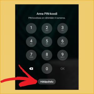Kuvakaappaus Samsung-puhelimen lukitusnäytöltä, johon on asetuksissa kirjoitettu ICE-numero.