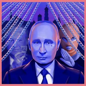 Piirretty Vladimir Putin katsoo kameraan värikkäässä kuvassa.