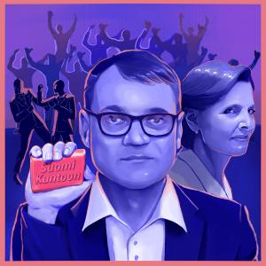 """Piirretty Juha Sipilä katsoo kameraan kädessään saippua, johon on kaiverrettu """"Suomi kuntoon""""."""