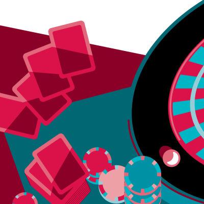 Kuvituskuva uhkapelaamisesta. Kuvassa ruletti, pelimerkkejä ja pelikortteja.
