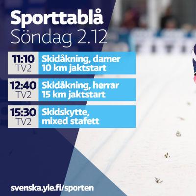 Yle Sportens TV-utbud söndagen 2.12.