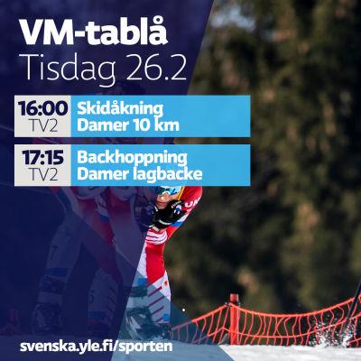 VM-tablå tisdag 26.2.