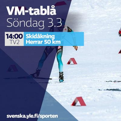VM-tablå söndag 3.3.