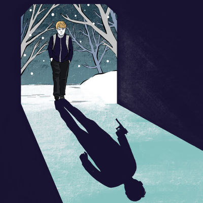 Kuvassa poika kävelee tunneliin. Varjokuvassa pojan kädessä on pistooli.