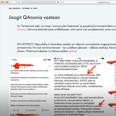 Kuvakaappaus Mia Jokiniemen blogitekstistä, joka on otsikoitu Joogit Qanonia vastaan.
