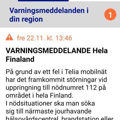 Skärmdump av Telias varningsmeddelande om att nödnumret inte fungerar som det ska.