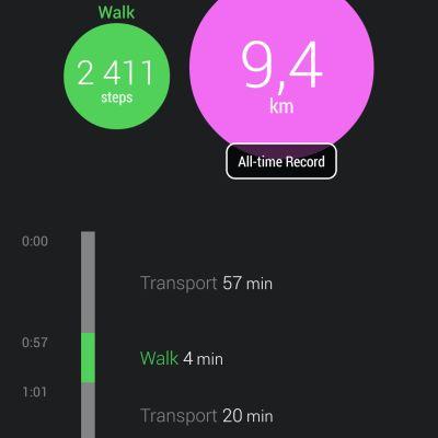 Mobilapplikationen Moves bokför hur mycket du rör på dig