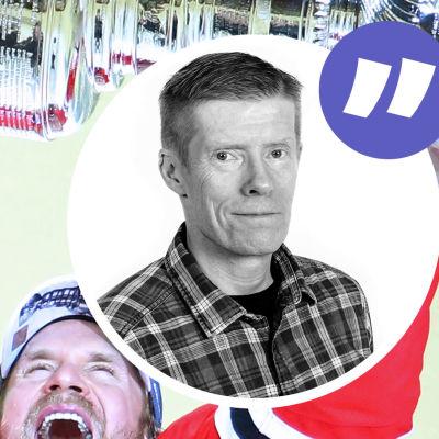 Kimmo Timonen med Stanley Cup-pokalen och Anders Nordenswans kolumnvinjett.