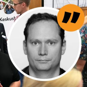 """Svenska Yles Anders """"AG"""" Karlsson i bildikon med Centerns Annika Saarikko och Petri Honkonen i bakgrunden."""