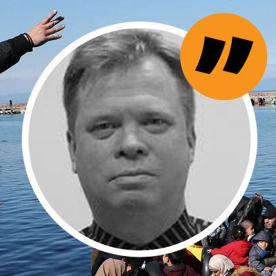 Kommentatorns bild mot bakgrund av en grekisk man som höjer handen mot immigranter som anländer till en hamn  i båt.