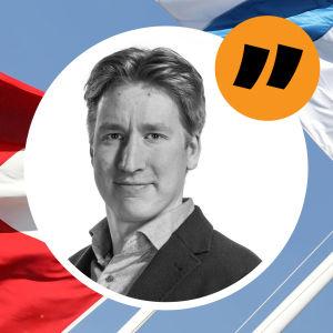 Rikhard Husu i en cirkel med svenska, danska och finska flaggan i bakgrunden.
