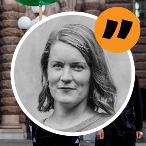 Kommentarsbild med Marianne Sundholm på stämpeln och Greta Thunberg till vänster som håller i en skylt