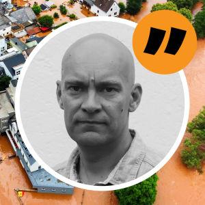 Flygbild av översvämningar kring hus i Tyskland. Till höger en inklippt bild på reporter Johnny Sjöblom.
