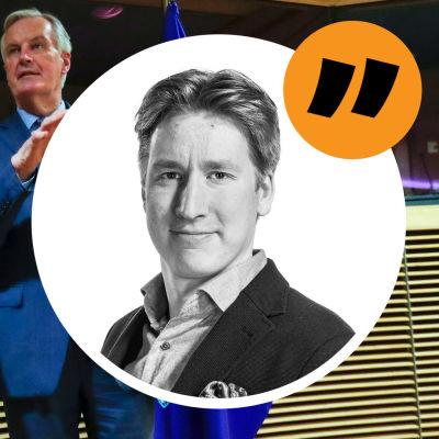 Brysselkorrespondent Rikhard Husus anikte på en bakgrundsbild där EU:s chefsföhandlare Michel Barnier och Storbritanniens förhandlare David Frost står sida vid sida mellan en EU-flagga och en Union Jack.