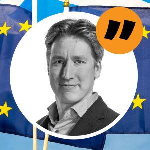 Rikhard Husus bild ovanpå en bild med Skottlands och EU:s flaggor.