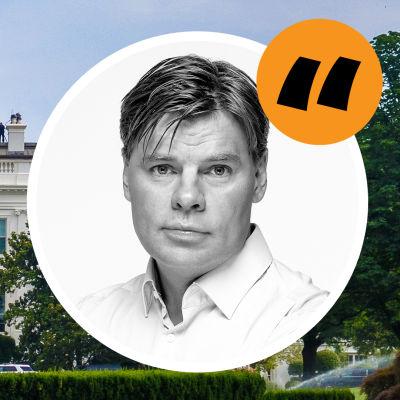 Bild av Vita Huset med Ville Hupas kommentarsstämpel på