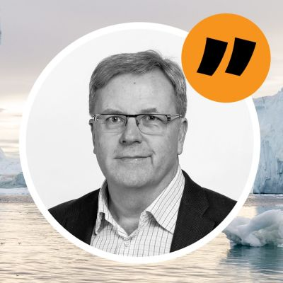 En citatbild på Bengt Östling. I bakgrunden ett grönländskt isbergslandskap.