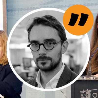 Kommentatorns bild på bakgrund av tre ministrar.