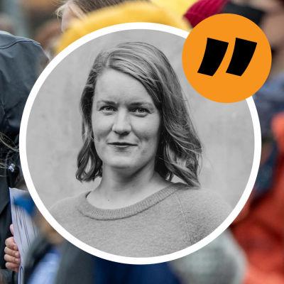Kommentatorn Marianne Sundholm med bild av Elokapina-demonstranter i bakgrunden.
