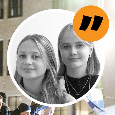 Fotbollsfantaser firar Finlands fotbollsherrars väg till EM på Havis Amanda. I en bubbla en bild på två unga kvinnor som ser glada ut.