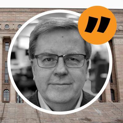Bildmontage med Riksdagshusets trappor och kommentator Bengt Östling