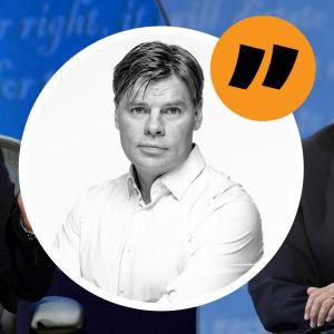 Grafik. Till vänster i bakgrunden syns Kamala Harris, till höger Mike Pence. Mitt i bilden syns redaktör Ville Hupa.