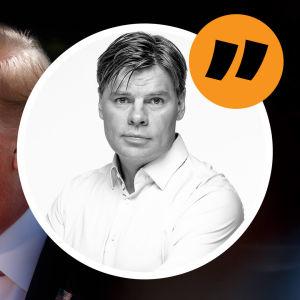 Grafik. Till vänster syns Donald Trump. Till höger syns redaktör Ville Hupa. Vid Villes bild syns ett citattecken för att signalera att detta är en kommentar.