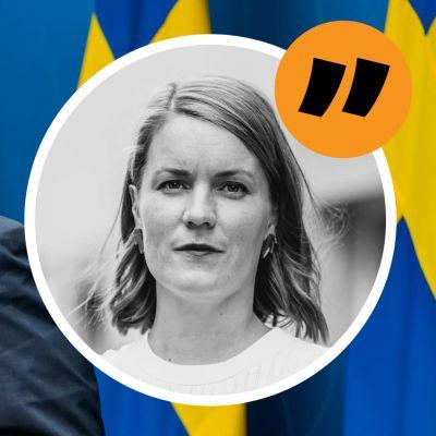 En bild på Sveriges statsminister Stefan Löfven med Svenska Yles Marianne Sundholm som ikon i förgrunden.