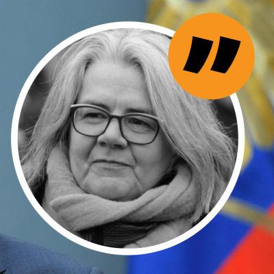 Grafik. Till vänster syns Vladimir Putin. Till höger Kerstin Kronvall.