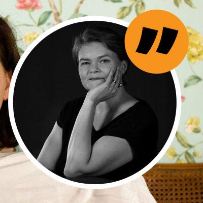 Grafik. Till vänster syns en kvinna som ser förskräckt ut medan hon håller upp ett täcke. Till höger syns redaktör Silja Sahlgren-Fodstad i en boll med ett citattecken vid sidan om.